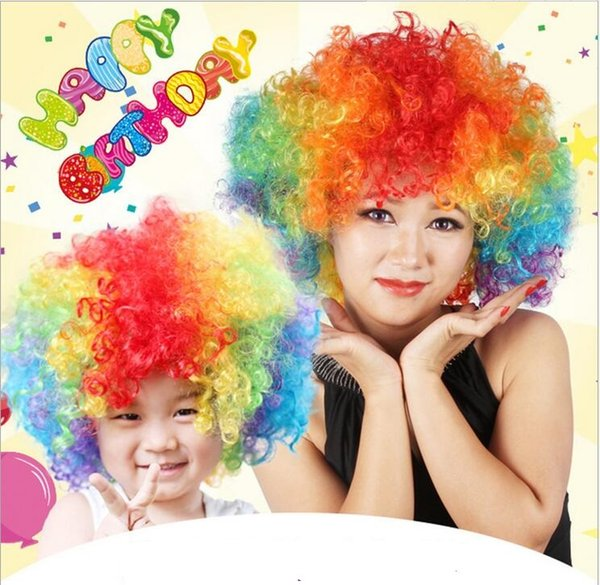 New Party Clown Wigs Rainbow Afro Hairpiece Children Adult Costume Football Fan Wigs Halloween Christmas Colourful Explosion Head Wigs