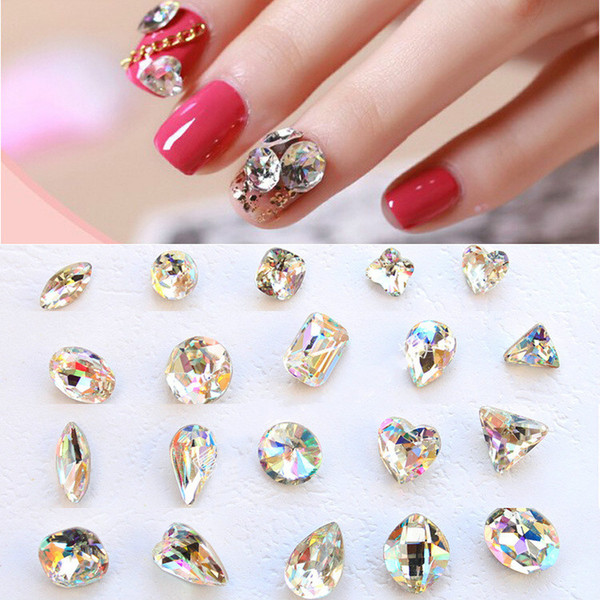 top popular 18 styles 3D Nail Art Decorations Glitter Rhinestones Glass Flame 1PC 2021