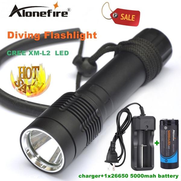 Alonefire DV21 Diving Flashlight Torch XM-L2 LED Underwater diver light Lamp +26650 rechargeable battery white light for 26650 battery