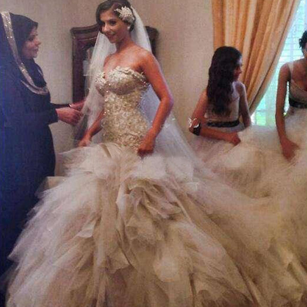 Luxury Real Image Cathedral Train Wedding Dress Strapless Sweetheart Mermaid Bridal Gowns Beaded Pearls Exquisite Appliques Top Corset