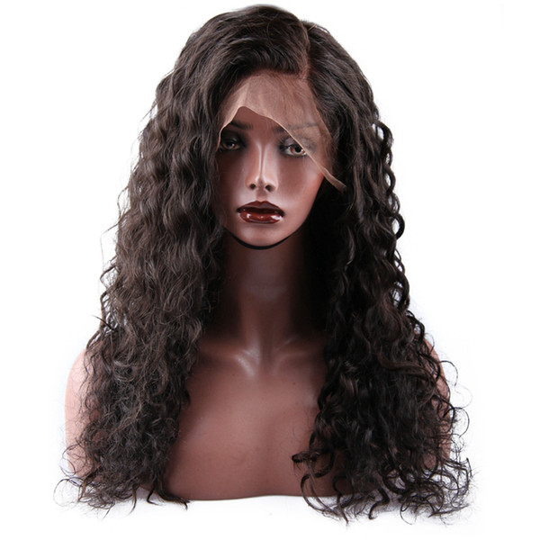 Full Lace Frontal Wigs Human Hair Glueless Lace Front Wigs Malaysian Virgin Hair Water Wave Virgin Hair Full Lace Wigs For African Americans