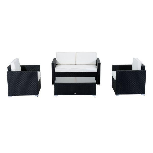 4 Piece Cushioned Outdoor Rattan Wicker Sofa Sectional Patio Furniture Set Garden