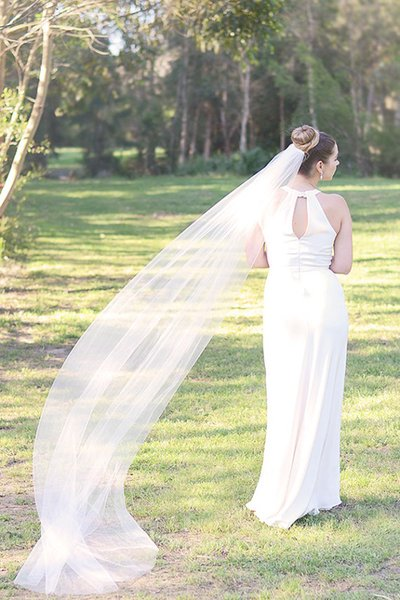 Hight Quality Best Sale Romantic Cathedral Length White Ivory Cut Edge Veil Bridal Head Pieces For Wedding Veil 274