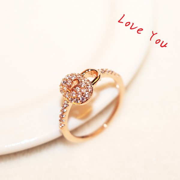 Luxury Cubic Zirconia Ring Rose Gold Plated Lock Charms Ring for
