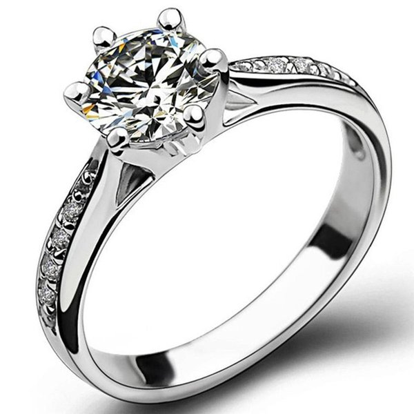 Size 5-11 Genuine 925 Sterling Silver Wedding Engagement Ring Solitaire Cocktail Propose Statement Bridal Party Anniversary