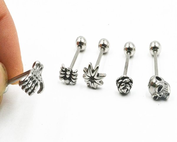 Lot 50pcs Surgical Steel Tongue Ring Bar Nipple Barbells Body Piercing 14g ~1 .6mm New Arrived