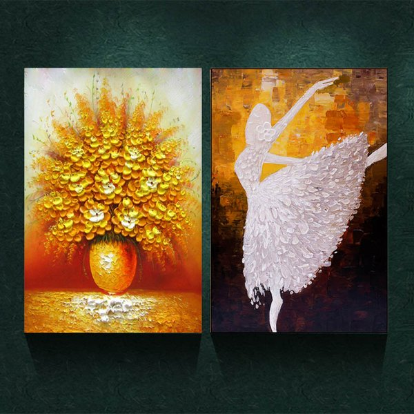 2 Panels Blooming Gold Flower & Dancing Girl No Frame Abstract Colorful Prints Poster Wall Picture Canvas Painting Living Room Home Decor