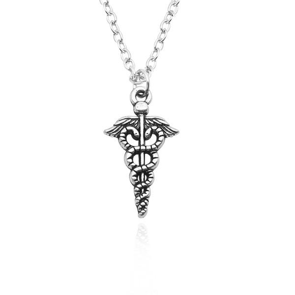 DIY Handmade Double Snake Wings Necklaces Pendants Vintage Medical Logo Choker Necklace Unisex Statement Necklaces Jewelry Wholesale