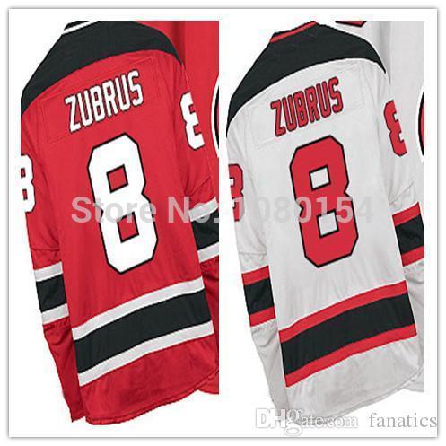 2015 hommes New Jersey pas cher cousu Dainius Zubrus Jersey # 8 équipe couleur rouge blanc authentiques maillots de hockey sur glace en gros en Chine