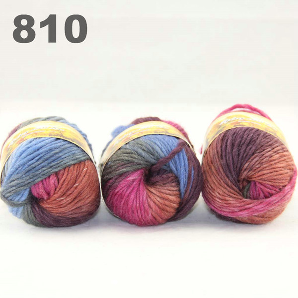 top popular colorful hand-knitted wool line segment dyed coarse lines fancy knitting hats scarves thick line Burgundy Rust Blue Moss 522-810 2021