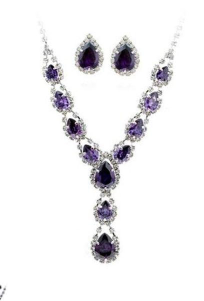 wonderful white diamond crystal leaf wedding bride set necklace earings (spwhy) h