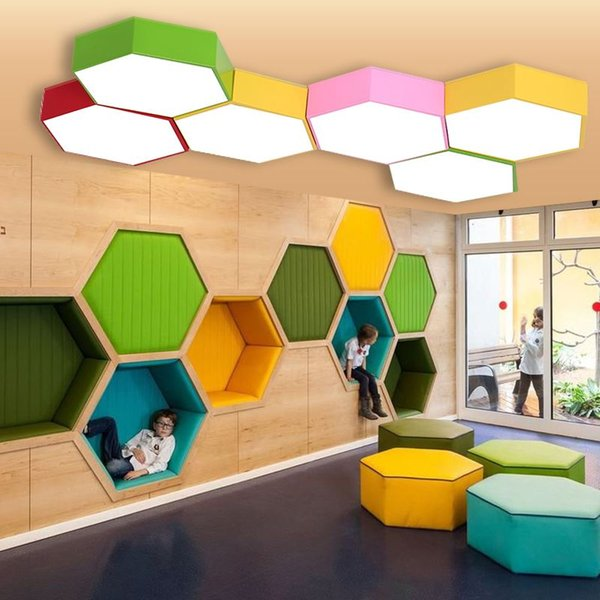 Geometry creative color hexagon study led ceiling lamp kindergarten classroom ceiling lights training center clothing store office LED lamp