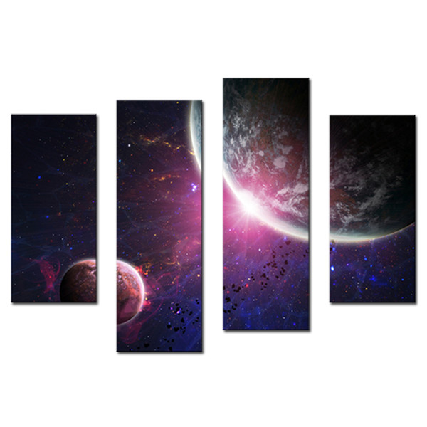 Amosi Art-4 Pieces Wall Art Purple Colourful solar system planets Earth of Painting Printed on Canvas for Home Modern Decor(Wooden Framed)