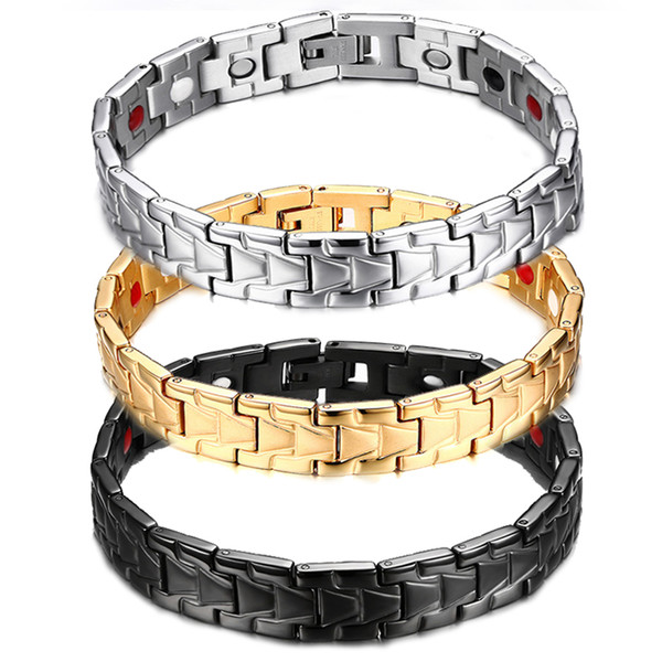 21cm*13mm Strong Magnets Germanium Titanium Steel Therapy Bangle Jewelry Silver Black Gold Bio Elements Fashion Jewelry Accessory B814S