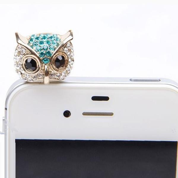 Toptan Satış - Toptan-Hillsionly Yeni Geliş 3.5mm Kristal Baykuş Desen Cep Telefonu Anti-Toz Toza Kulaklık Jack Stopper İçin Cep telefonu