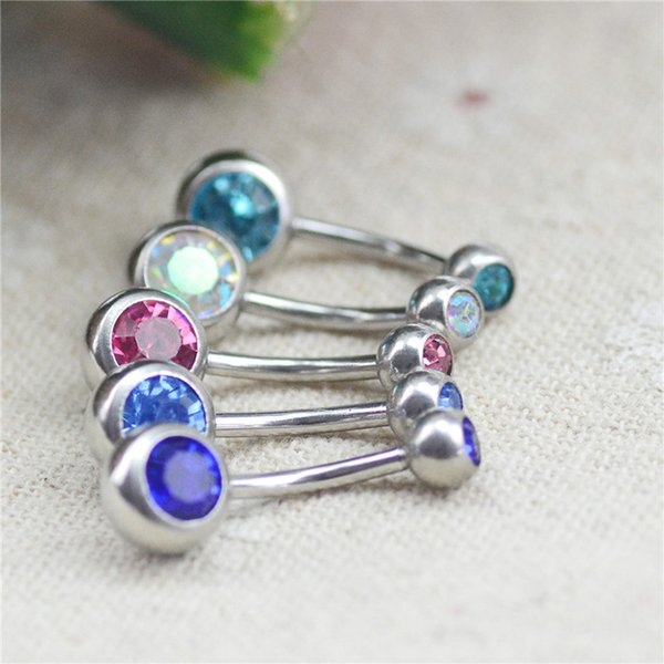 moda Body Piercing Jewelry Silver Plated Bar Bola Barbell Belly Navel Button Ring