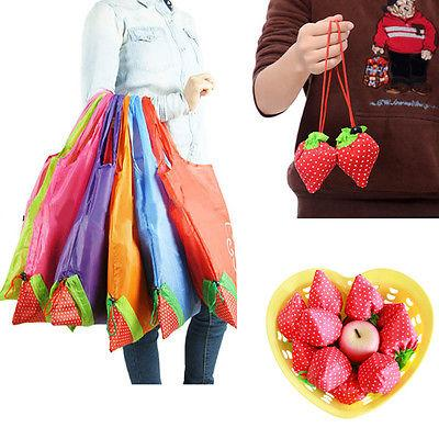Wholesale- Large Strawberry Eco Shopping Travel Tote Bag Folding Reusable Grocery Nylon Bag