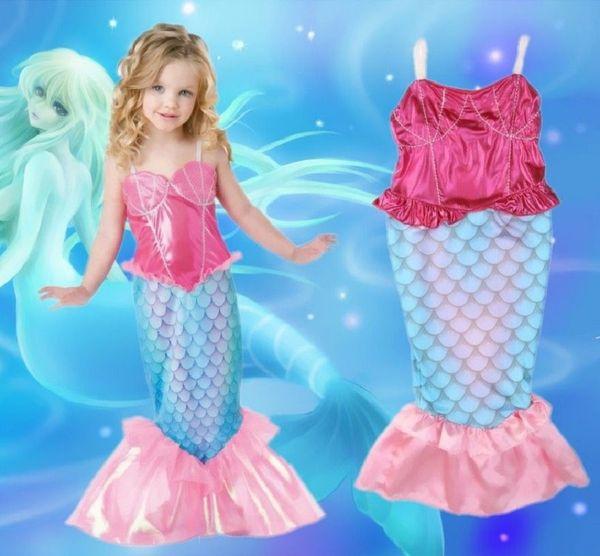 us_baby / 2016 Kids Girls Mermaid dress The Little Mermaid Ariel cloth Girls Princess Cosplay Halloween Costume party birthday Dress swimwear
