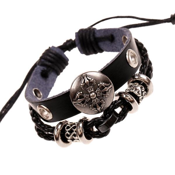Joyería de moda Cruz pulsera de cuero de la aleación de las mujeres personalidad Casual moldeado pulsera de cuerda de cáñamo pulsera punky de la vendimia de los hombres BB158