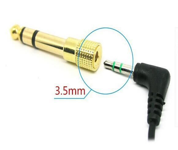 """100pcs/Free shipping 6.5mm 1/4"""" Male to 3.5mm Female Audio Adapter jack Stereo / Converter Cable for Microphone gold 10Qty"""