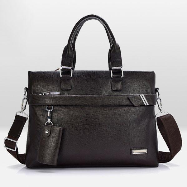 Wholesale- TOP POWER Fashion Genuine Leather Men Briefcase Cowhide Men's Messenger Bags 13.5'Laptop Business Bag Crossbody Shoulder Handbag