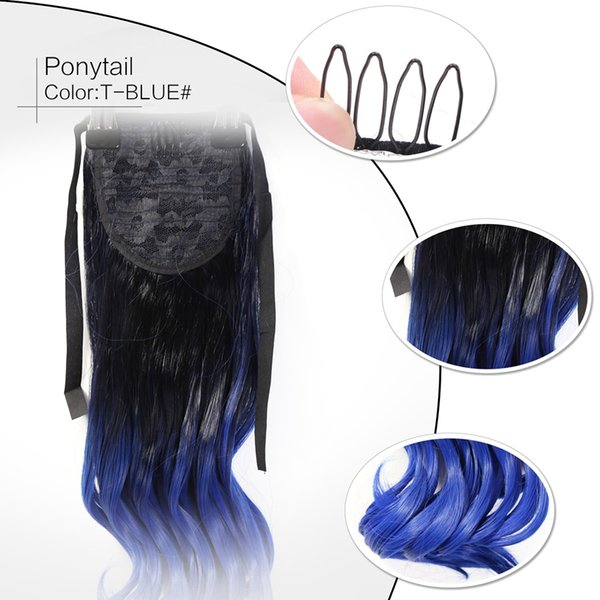 Fashionable Blue Synthetic Hair Ponytail Clip In Ponytails Long