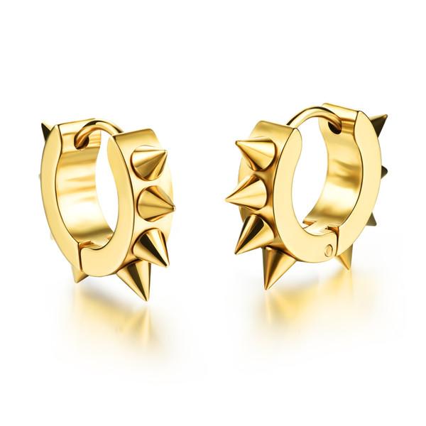 WPY JEWELRY 2016 Man Stainless Steel Rivet Hoop Earrings Punk Rock Style Gold / Silver / Black Fashion Jewelry Round Earrings for Men MGE316
