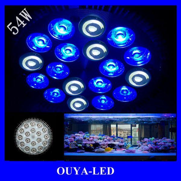 Wholesale-2016 Neueste E27 54W 18X3W 12Blue 6White LED Korallenriff wachsen Licht High Power Aquarium Aquarium Licht Lampe LED-Lampen 85V-265V