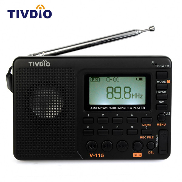 Wholesale- 1pcs TIVDIO V-115 Multiband FM/AM/SW Radio Receiver USB Interface Charge MP3/WMA Music Player Portable Support Micro SD/TF Card