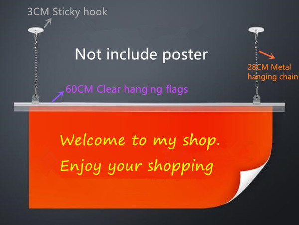 Free shipping Supermarket pop Poster hanging flags Hanger Strip extruded clip frame banner display stand holder rack 10set/lot