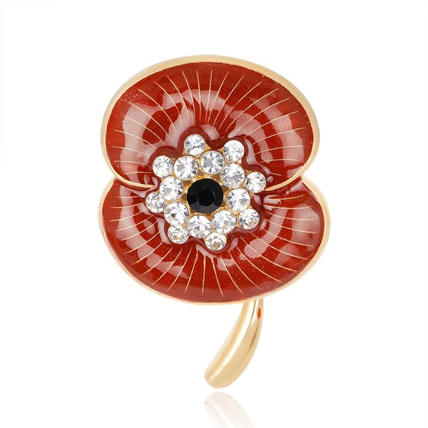 Enamel Red Poppy Brooch Pin Badge Golden Plated White Crystal Poppy Flower Brooch Remembrance Day Gift Newest Design DHL free shipping