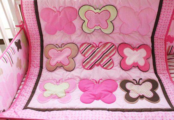7pcs Baby bedding set Embroidery various butterfly Crib bedding set cotton Cot bedding set Quilt Bumper Mattress Cover bedskirt