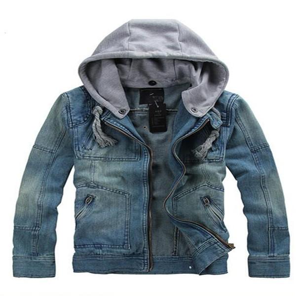 Otoño-Chaqueta de mezclilla Hombre 2016 Moda Ocio Chaqueta de mezclilla Verano Hombres con capucha de lavado extraíble Jeans de la universidad Hombre chaqueta de mezclilla