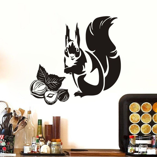 Cute Squirrel Eating Nuts Wall Stickers Animals Kitchen Tile Wall Decor Vinyl Waterproof Wall Decals