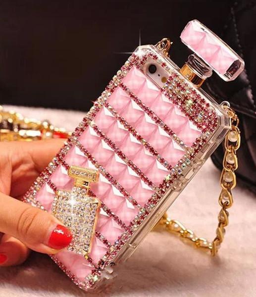 Lujo Bling Diamond Crystal Bottle Bottle Perfume DIY Handbag Case para iPhone 6s plus 7 8 más x XS XR XS Max Samsung S8 S9 Note 9