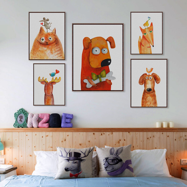 Kawaii Animal Deer Cat Dog Large Canvas Art Print Poster No Frame Wall Picture Kids Baby Room Modern Nordic Home Decor Paintings