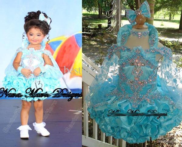2018 Cupcake Fora Do Ombro Lantejoulas Cristal Mini Glitz Flower Girl Pageant Meninas vestidos Formal Little Kids Birthday Party Gowns