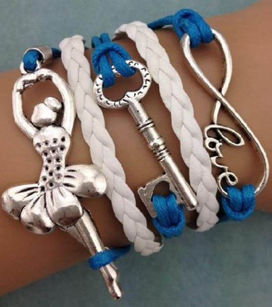 Leather Bracelet Women Vintage Love Infinity Synthetic Braided Friendship Multilayer Bracelets & Bangles for Women Infinity Bracelet