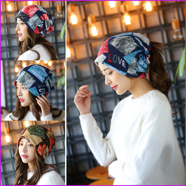 Fashion Baggy Beanie Hat with LOVE Letters, Female Warm Winter Hats for Girls Women, Hip-hot Beanies Bonnet Skull Caps