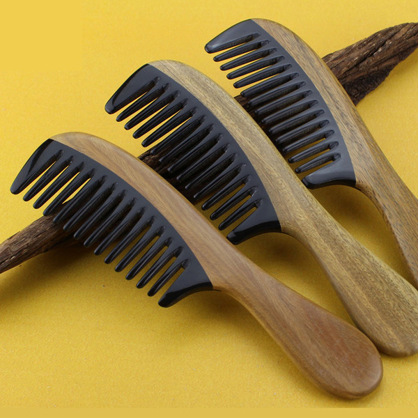 Hair Comb Wide Tooth Horn Sandalwood Wooden Pocket Handmade Hair Care Styling Tool HairCut Fade Comb over Hair Beard Style Christmas Gift