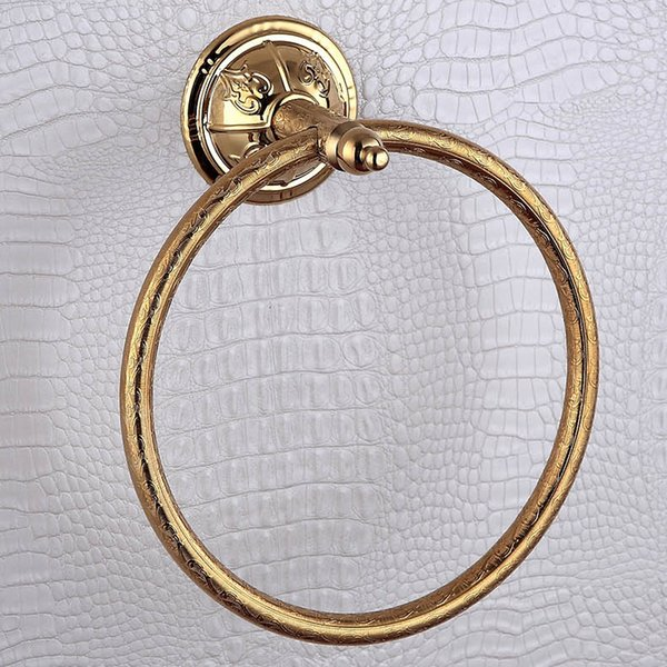 best selling Luxury Gold Towel Rings 304 Stainless Steel and Copper Wall Mounted Bronze Towel Ring Holder for Bathroom