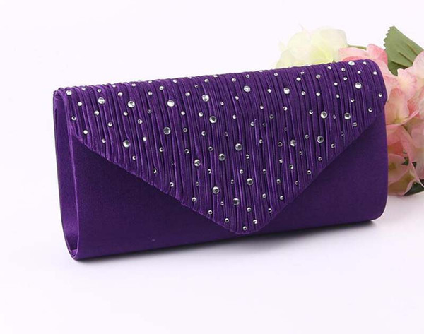 best selling 50pcs 2017 Diomand Evening bags Women Satin Long Hasp Clutch Bags Simple Cosmetic Bag In wedding