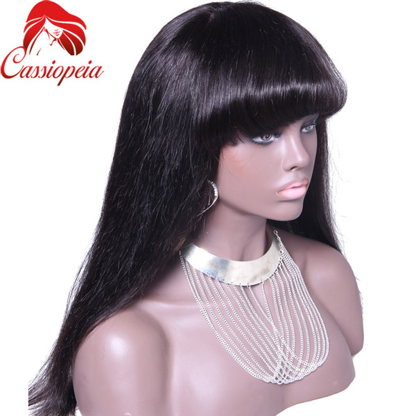 100%Virgin Brazilian Full Lace Human Hair Wigs With Bangs/Glueless Lace Front Wig 150 Density Full Lace Wigs For Black Woman