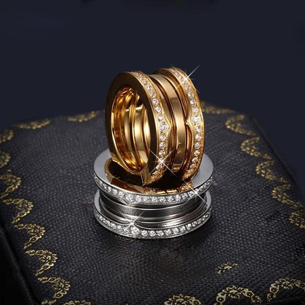 top popular Luxury Titanium Stainless Steel Elastic Multiwall Rhinestone Rings, Yellow Gold  Rose Gold  Silver Metal Colors Women Men Wedding Jewelry 2019