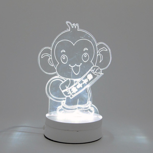 6W Monkey LED Night Light AC220V Input DIY Table Lamp Laser Engraving Multi-Choice Pattern(3-Color/pcs) on Acrylic 3D Creative Light