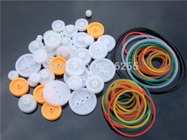 Polia pacote de combinação cintos de borracha faixa de borracha modelo de plástico acessórios DIY polia pequena roldanas acessórios material