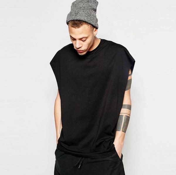 NUEVA LLEGADA Camisetas para hombre Solid O-cuello sin mangas de Hip-Hop camisetas Popular Dropped Shoulder Loose Teeshirts Plus Size Male Camisetas de algodón sin mangas