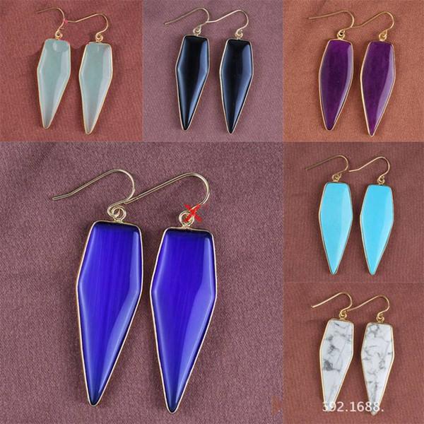 Women'S Drop Earrings 18k Gold Plated Natural Crystal Arrow Earrings Fashion Personalized Jewelry Bohemian Earrings