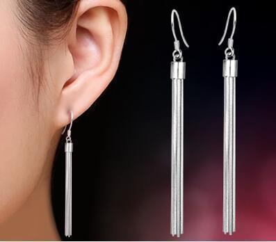925 sterling silver drop earrings Luxury Women long Tassels Fashion bridal/Wedding dangle brinco prata Jewlery gift of girls long earings