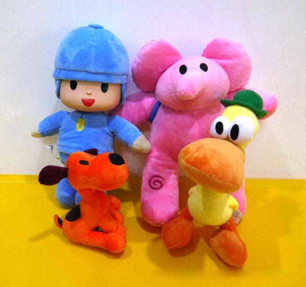 Pocoyo Brinquedos de Pelúcia 4 PCS Set Pocoyo Boneca Elefante Rosa Elly Pato Pato Loula Cachorro Cão Pet Stuffed Animais Kid Chirstmas Presente de Alta Qualidade